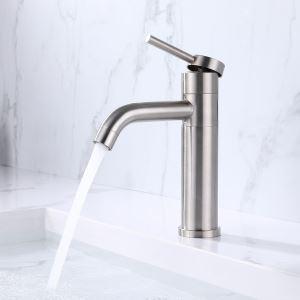 洗面蛇口 バス水栓 冷熱混合栓 手洗器蛇口 回転可 ステンレス鋼 2色 H21.5cm