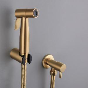 ビデ蛇口 洗浄器用水栓 シャワー蛇口 ステンレス鋼 ヘアラインゴールド
