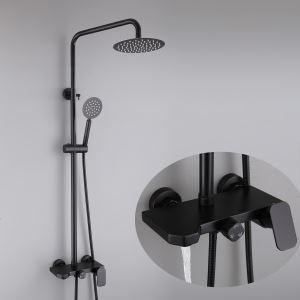 浴室シャワー水栓 シャワーシステム バス水栓 ヘッドシャワー+ハンドシャワー+蛇口 ステンレス鋼 黒色