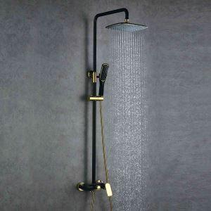 浴室シャワー水栓 レインシャワーシステム バス水栓 ヘッドシャワー+ハンドシャワー+蛇口 混合栓 黒色&Ti-PVD 016