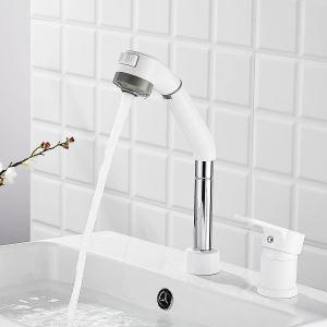 洗面蛇口 スプレー混合栓 洗髪用水栓 ホース引出式 昇降 整流&シャワー吐水式 シングルレバー 2色