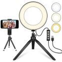 LEDリングライト 自撮りライト 撮影照明用ライト フィルライト 3色モード 11段階調光 三脚スタンド付 USB充電