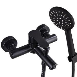 浴室シャワー水栓 浴槽蛇口 冷熱混合栓 ハンドシャワー付き ステンレス鋼 黒色