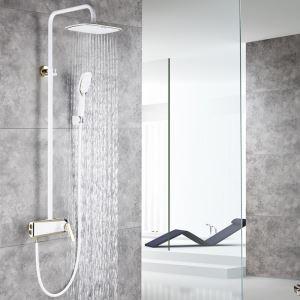 浴室シャワー水栓 レインシャワーシステム バス水栓 ヘッドシャワー+ハンドシャワー 混合栓 5色