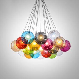LEDペンダントライト リビング照明 ダイニング照明 吹き抜け照明 店舗照明 カラフル 1/3/5/7/10/14/16/19/25灯