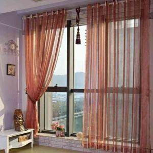 シアーカーテン オーダーカーテン レースカーテン 伝統風 ジャカード 縦縞 6色(1枚)