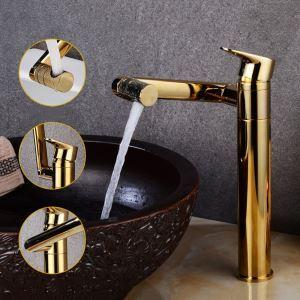 洗面蛇口 バス水栓 冷熱混合栓 水道蛇口 回転可能 金色 H30cm