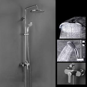 浴室シャワー水栓 レインシャワーシステム シャワーバー ヘッドシャワー+ハンドシャワー バス水栓 FTTB037