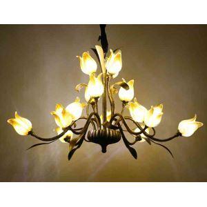 LEDシャンデリア リビング照明 吹き抜け照明 瑠璃 豪華 チューリップ 15灯 LED対応