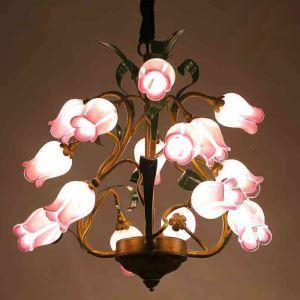 LEDシャンデリア リビング照明 吹き抜け照明 瑠璃 豪華 ローズ 15灯 LED対応