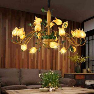 LEDシャンデリア リビング照明 吹き抜け照明 瑠璃 豪華 チューリップ 20灯 LED対応