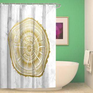 シャワーカーテン バスカーテン 防水防カビ プリント オシャレ 浴室 お風呂 リング付 幾何柄 1枚