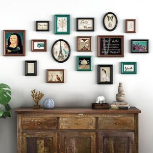 壁掛けフォトフレーム 写真立てセット 額縁 フォトデコレーション 木製 16個セット YMQZPQ016