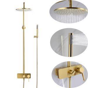 浴室シャワー水栓 シャワーシステム バス水栓 ヘッドシャワー+ハンドシャワー+蛇口 ヘアラインゴールド