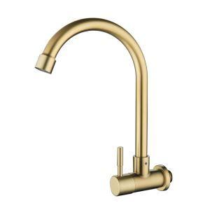 壁付水栓 キッチン蛇口 単水栓 水道蛇口 回転可 ステンレス鋼 ヘアラインゴールド