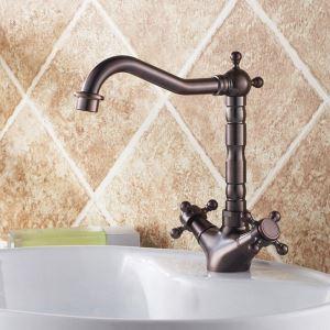 洗面水栓 バス水栓 浴室蛇口 冷熱混合栓 立水栓 2ハンドル 水道蛇口 舵型ハンドル