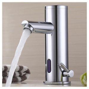 自動水栓 センサー水栓 洗面蛇口 冷熱混合栓 バス水栓 シングルレバー クロム H19cm