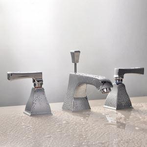 洗面蛇口 バス水栓 ポップアップ式蛇口 冷熱混合栓 水道蛇口 2ハンドル 4色