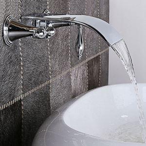 壁付蛇口 バス水栓 洗面蛇口 冷熱混合栓 水栓金具 水道蛇口 2ハンドル クロム