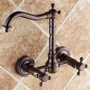 壁付水栓 キッチン水栓 台所蛇口 冷熱混合栓 2ハンドル 水道蛇口 3色