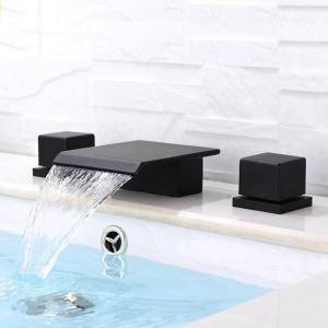 洗面蛇口 バス水栓 冷熱混合栓 浴槽蛇口 水道蛇口 2ハンドル 3点 黒色