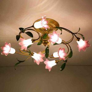 LEDシーリングライト 照明器具 リビング照明 店舗照明 寝室照明 瑠璃 ボヘミア風 ユリ 8灯 LED対応 RI005