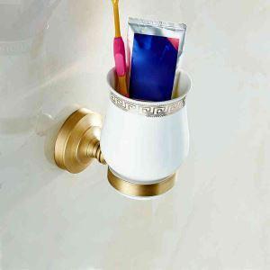 歯ブラシホルダー 歯ブラシスタンド バス用品 カップ付き 収納 真鍮製 ブロンズ