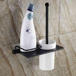トイレブラシホルダー トイレ用品 収納棚付き トイレブラシ&ポット付き 真鍮製 ヴィンテージ ORB