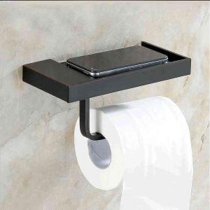 トイレットペーパーホルダー 紙巻器 トイレ用品 ペーパー収納 バスアクセサリー 真鍮製 黒色