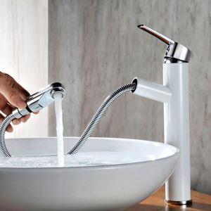洗面蛇口 スプレー混合栓 洗髪用水栓 ホース引出式 水道蛇口 立水栓 水栓金具 黒色/白色