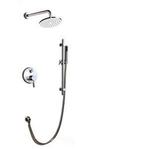 埋込形シャワー水栓 サーモスタット水栓 レインシャワーシステム ヘッドシャワー+ハンドシャワー バス水栓 混合栓 ヘアライン