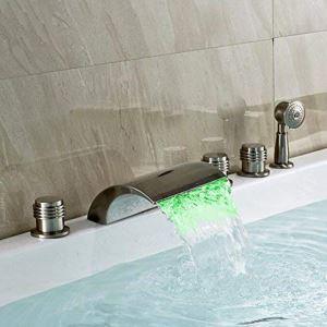 LED浴槽水栓 バス水栓 シャワー混合栓 ハンドシャワー付 水道蛇口 5点 ヘアライン