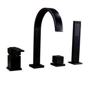 浴槽水栓 バス蛇口 シャワー混合栓 浴室蛇口 ハンドシャワー付 水道蛇口 4点 黒色