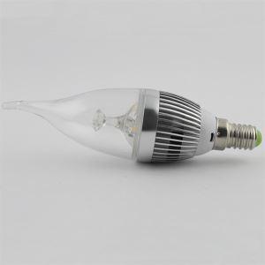 LEDシャンデリア電球 電球色 3W E12 270LM AC85-265V 銀色 キャンドル型 5個入り