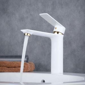 洗面水栓 バス蛇口 冷熱混合栓 立水栓 水道蛇口 手洗器水栓 白色&金色 BL6378WG