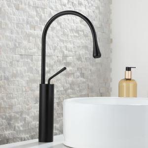洗面水栓 バス蛇口 冷熱混合栓 立水栓 水道蛇口 水栓金具 雫型 黒色/白色/金色 H46.5cm
