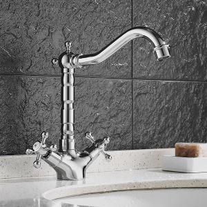 洗面蛇口 バス水栓 冷熱混合栓 手洗器蛇口 立水栓 水道蛇口 2ハンドル クロム HAY