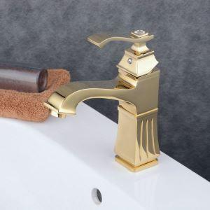 洗面水栓 バス蛇口 冷熱混合水栓 水道蛇口 手洗器水栓 Ti-PVD 金色 BL6311G