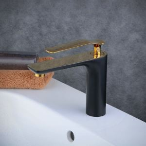 洗面水栓 バス蛇口 冷熱混合栓 立水栓 水道蛇口 手洗器水栓 黒色&金色 BL6378GB