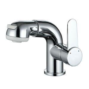 洗面蛇口 スプレー混合栓 洗髪用水栓 ホース引出式 立水栓 水道蛇口 クロム H14cm HY2033A