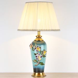 テーブルランプ デスクスタンド 枕元照明 陶器 立体 花 1灯 HY027