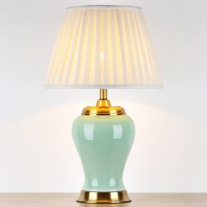 テーブルランプ デスクスタンド 枕元照明 陶器 緑色/黄色 1灯 HY125