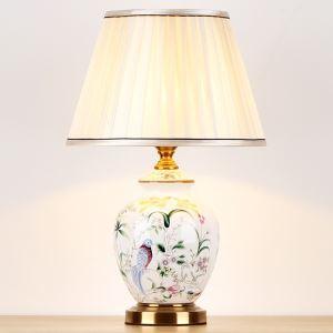 テーブルランプ デスクスタンド 枕元照明 陶器 花&鳥柄 1灯 HY126