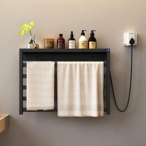 壁掛けタオルウォーマー タオルハンガー+簡易乾燥 スイッチ付 工事不要可 タオルラック付 90W 2色