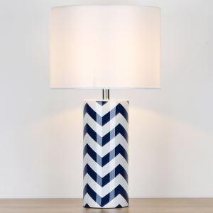 テーブルランプ デスクスタンド 枕元照明 ナイトライト 陶器 波柄 1灯 HY030