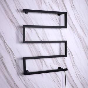 壁掛けタオルウォーマー タオルヒーター タオルハンガー+簡易乾燥 スイッチ付 95W 黒色