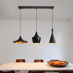 ペンダントライト 天井照明 ダイニング照明 リビング照明 ロフト工業風  黒色&方形 3灯