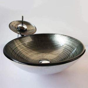 洗面ボウル&蛇口セット 手洗い鉢 洗面器 強化ガラス製 排水金具付 オシャレ SFS001