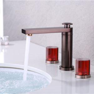 洗面水栓 バス蛇口 立水栓 冷熱混合栓 水道蛇口 2ハンドル 赤茶色 3点