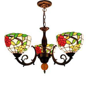 シャンデリア ステンドグラスランプ リビング照明 ダイニング照明 ローズ柄 3灯 OFP3012